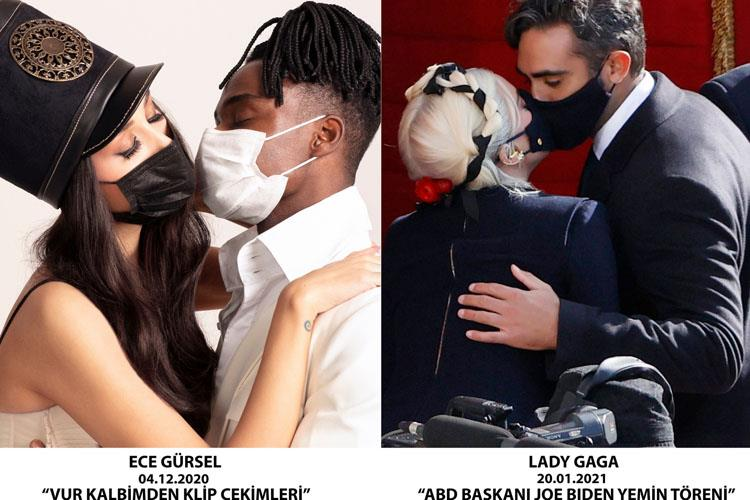 Lady Gaga'dan Ece Gürsel Tarzı Maskeli Öpüşme